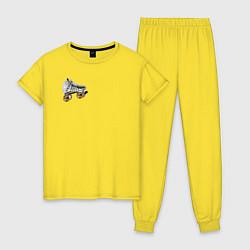 Пижама хлопковая женская Birds of Prey цвета желтый — фото 1