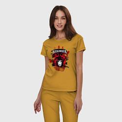 Пижама хлопковая женская Stignata цвета горчичный — фото 2