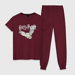 Пижама хлопковая женская Гарри Поттер: Букля цвета меланж-бордовый — фото 1