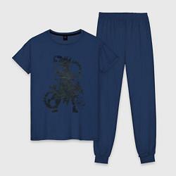 Пижама хлопковая женская Доктор Стоун цвета тёмно-синий — фото 1