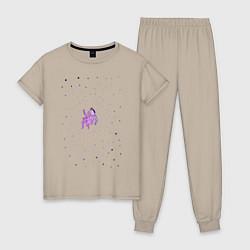 Пижама хлопковая женская BoJack Horseman цвета миндальный — фото 1
