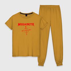Пижама хлопковая женская Megadeth цвета горчичный — фото 1