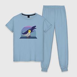 Пижама хлопковая женская Рекс 1 цвета мягкое небо — фото 1