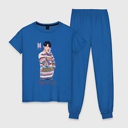 Пижама хлопковая женская BTS цвета синий — фото 1