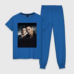 Пижама хлопковая женская Winchester Brothers цвета синий — фото 1
