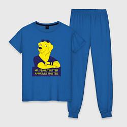 Пижама хлопковая женская Mr Peanutbutter цвета синий — фото 1