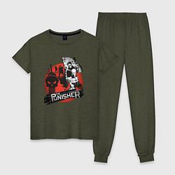Пижама хлопковая женская The Punisher цвета меланж-хаки — фото 1