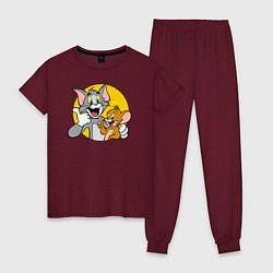 Пижама хлопковая женская Том и Джерри цвета меланж-бордовый — фото 1
