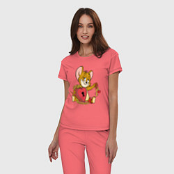 Пижама хлопковая женская Enamored Jerry цвета коралловый — фото 2