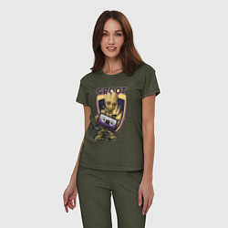 Пижама хлопковая женская Groot цвета меланж-хаки — фото 2