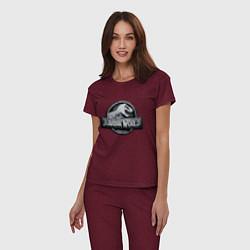 Пижама хлопковая женская Jurassic World цвета меланж-бордовый — фото 2