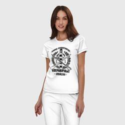 Пижама хлопковая женская Пограничные Войска цвета белый — фото 2