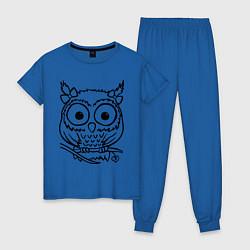 Пижама хлопковая женская Сова скетч цвета синий — фото 1