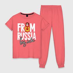 Пижама хлопковая женская Из России с любовью цвета коралловый — фото 1