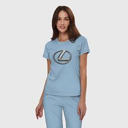 Пижама хлопковая женская LEXUS цвета мягкое небо — фото 2
