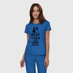Пижама хлопковая женская Keep Calm & Say I Do цвета синий — фото 2