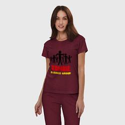 Пижама хлопковая женская Zombie dance group цвета меланж-бордовый — фото 2