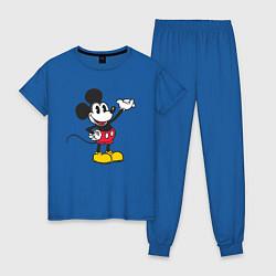 Пижама хлопковая женская Микки Маус цвета синий — фото 1