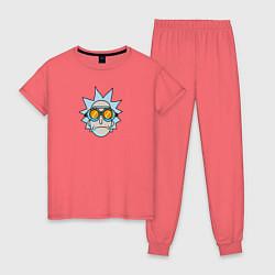Пижама хлопковая женская Рик цвета коралловый — фото 1