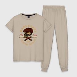 Пижама хлопковая женская Острые козырьки Череп и бритвы цвета миндальный — фото 1