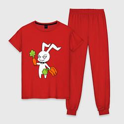 Пижама хлопковая женская Злой заяц цвета красный — фото 1