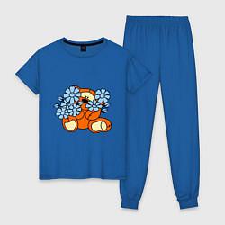 Пижама хлопковая женская Мишка с цветами цвета синий — фото 1