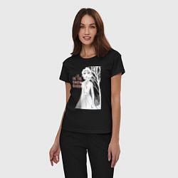 Пижама хлопковая женская Snow Queen цвета черный — фото 2