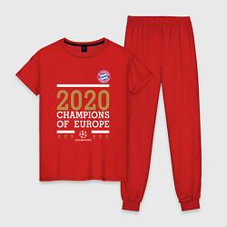 Пижама хлопковая женская FC Bayern Munchen Champions of Europe 2020 цвета красный — фото 1