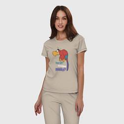 Пижама хлопковая женская Яго цвета миндальный — фото 2