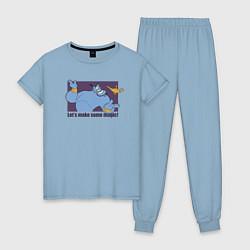 Пижама хлопковая женская Джинн цвета мягкое небо — фото 1