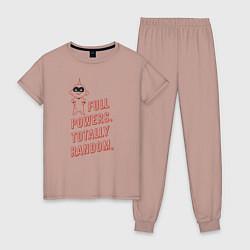 Пижама хлопковая женская Jack-Jack Parr цвета пыльно-розовый — фото 1