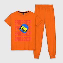 Пижама хлопковая женская Spaceship цвета оранжевый — фото 1