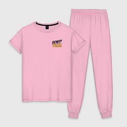 Пижама хлопковая женская Dewey Team цвета светло-розовый — фото 1