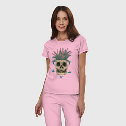 Пижама хлопковая женская Череп Моргенштерна цвета светло-розовый — фото 2