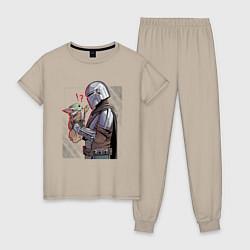Пижама хлопковая женская Мандалорец и Дитя цвета миндальный — фото 1