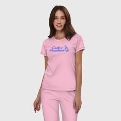 Пижама хлопковая женская Снова я Напиваюсь Marlow цвета светло-розовый — фото 2