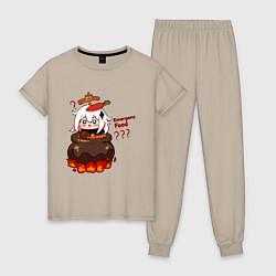 Пижама хлопковая женская Genshin Impact Paimon food цвета миндальный — фото 1