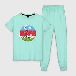 Пижама хлопковая женская Азербайджан цвета мятный — фото 1