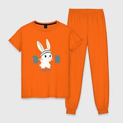 Пижама хлопковая женская Физкульт - привет! цвета оранжевый — фото 1