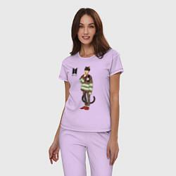 Пижама хлопковая женская BTS Cat цвета лаванда — фото 2
