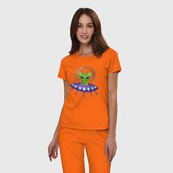 Пижама хлопковая женская Инопланетный кот цвета оранжевый — фото 2