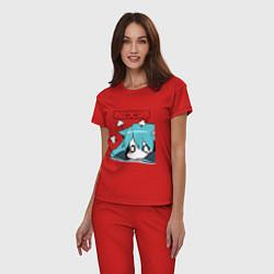 Пижама хлопковая женская Грусть цвета красный — фото 2