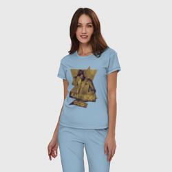 Пижама хлопковая женская Ананси Американские Боги цвета мягкое небо — фото 2