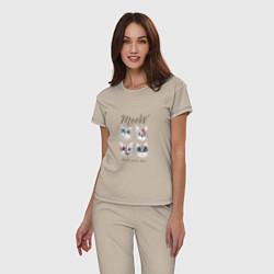 Пижама хлопковая женская KISS CATS цвета миндальный — фото 2