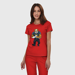 Пижама хлопковая женская ПИТБУЛЬ SECURITY Z цвета красный — фото 2