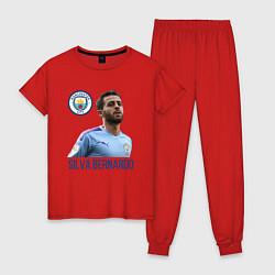 Пижама хлопковая женская Silva Bernardo Манчестер Сити цвета красный — фото 1