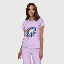 Пижама хлопковая женская MANCHESTER CITY МАНЧЕСТЕР цвета лаванда — фото 2