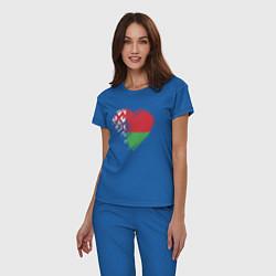 Пижама хлопковая женская Сердце Беларуси цвета синий — фото 2