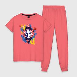 Пижама хлопковая женская Harley Quinn цвета коралловый — фото 1