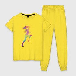 Пижама хлопковая женская Формула фитнес цвета желтый — фото 1